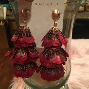 Kendra Scott Lenni Red Feather Earings